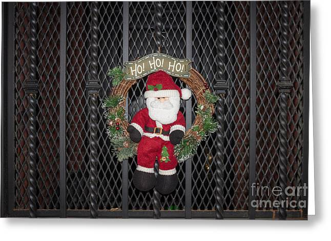 Brutalist Greeting Cards - Santa on a Metal Grate Greeting Card by Thomas Marchessault