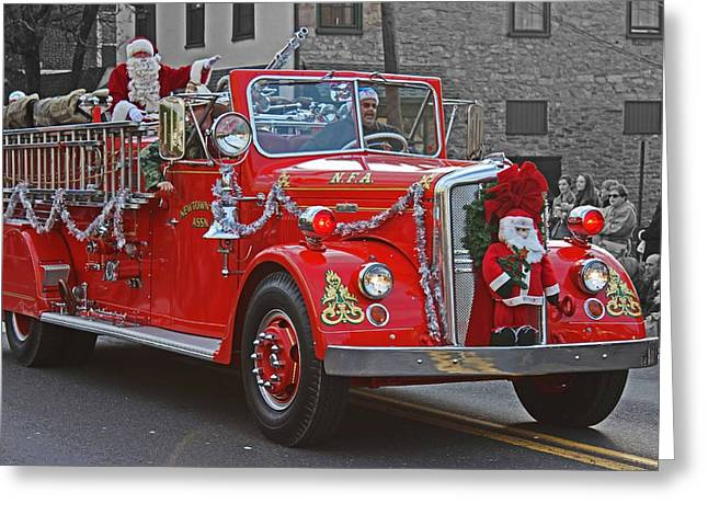 Nicholas Greeting Cards - Santa on Fire Truck Greeting Card by Tom Gari Gallery-Three-Photography