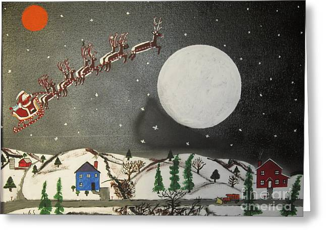 Reign Deer Greeting Cards - Santa over the moon Greeting Card by Jeffrey Koss