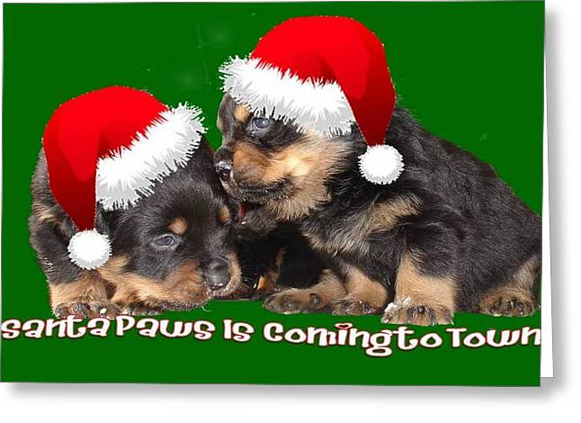 Santa Paws Is Coming To Town Christmas Greeting Greeting Card by Tracey Harrington-Simpson