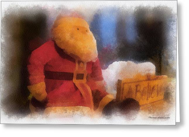 Christmas Eve Greeting Cards - Santa Photo Art 07 Greeting Card by Thomas Woolworth