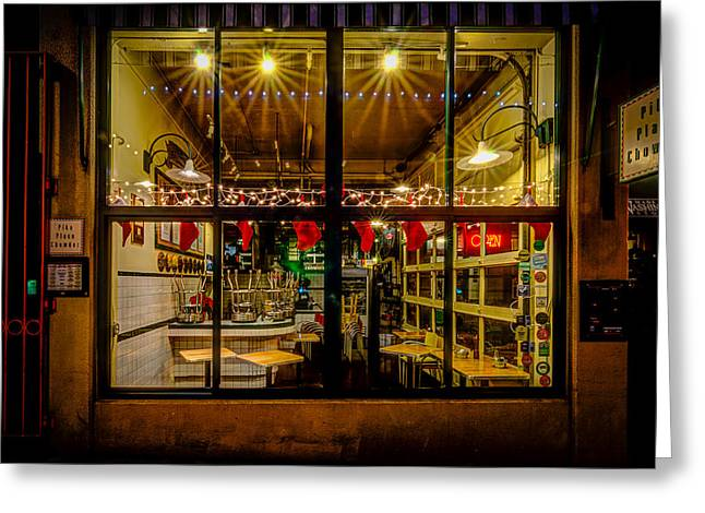 Night Diner Prints Greeting Cards - Santa-Ready Pike Place Chowder After Closing Greeting Card by Brian Xavier
