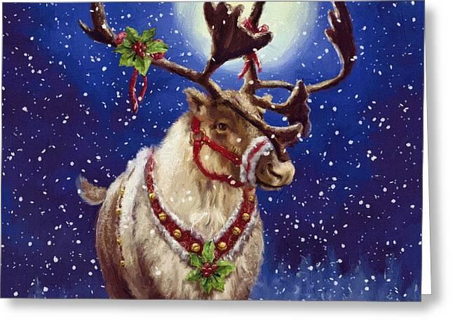 Happy New Year Greeting Cards - Santa Reindeer Greeting Card by Victor Gladkiy