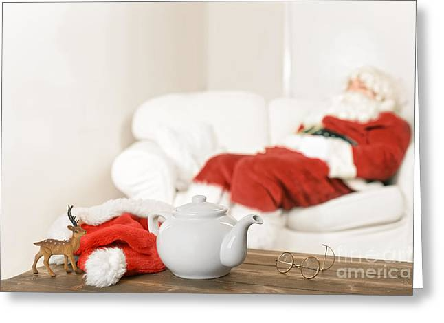 Settee Greeting Cards - Santa Resting Greeting Card by Amanda And Christopher Elwell