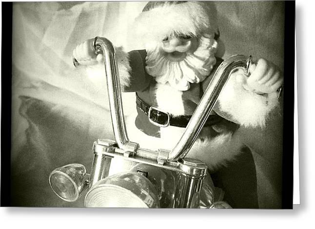 Happy Hog Greeting Cards - Santa Rides His Motorcyle Greeting Card by Nina Prommer