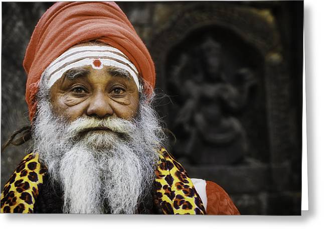 Begging Bowl Greeting Cards - Santa Sadhu Greeting Card by David Longstreath