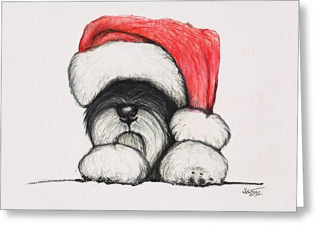 Cute Schnauzer Greeting Cards - Santa Schnauzer Greeting Card by Katerina A Cechova