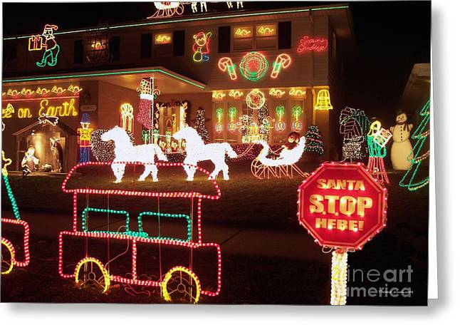 Old Saint Nick Greeting Cards - Santa Stop Here Sign 02 Greeting Card by Thomas Woolworth