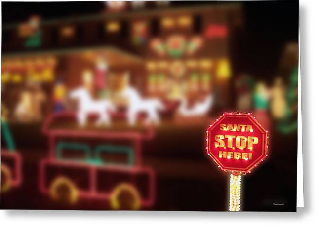 Old Saint Nick Greeting Cards - Santa Stop Here Sign 03 Greeting Card by Thomas Woolworth