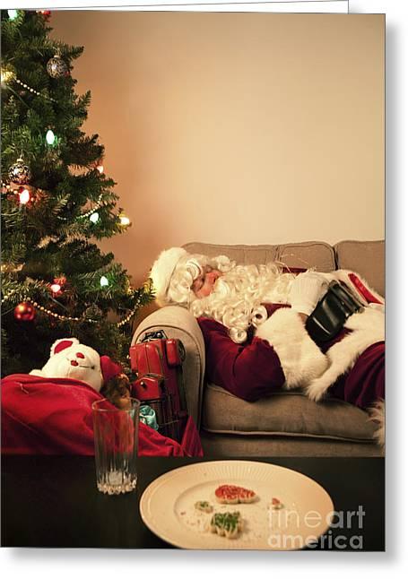 Santa Takes A Nap Greeting Card by Diane Diederich