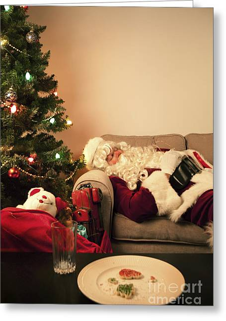 Christmas Eve Photographs Greeting Cards - Santa Takes a Nap Greeting Card by Diane Diederich