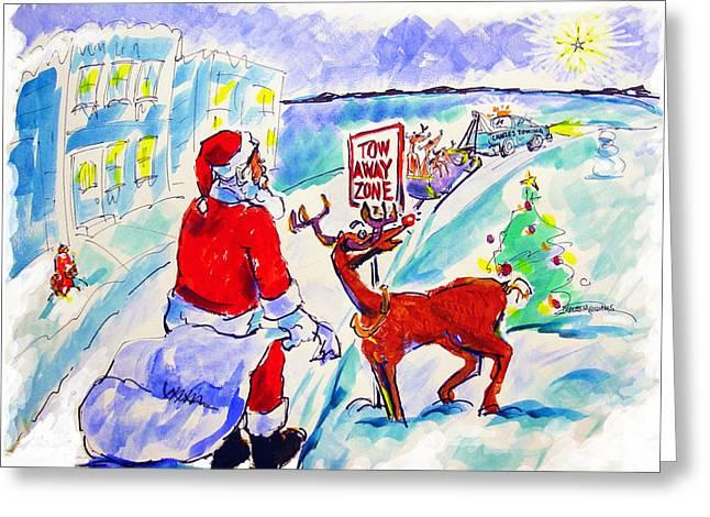 Rudolph Drawings Greeting Cards - Santa towed - 2005 Greeting Card by Charles M Williams