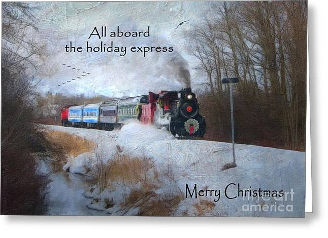 Winter Prints Digital Art Greeting Cards - Santa Train - Waterloo Central Railway Greeting Card by Lianne Schneider