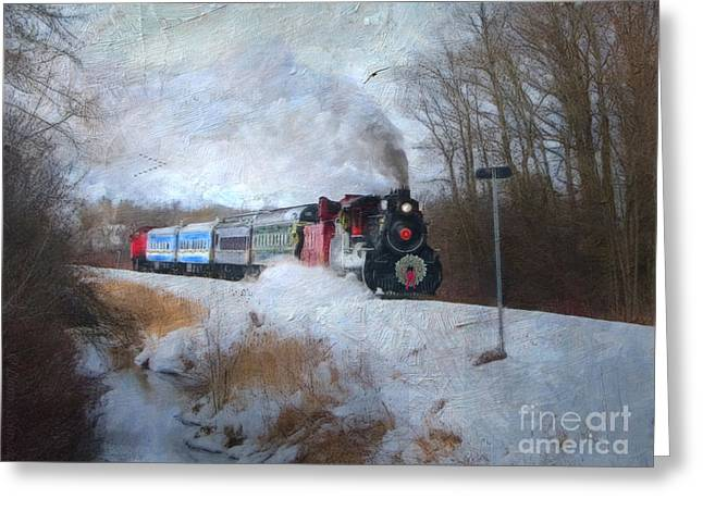 Christmas Art Greeting Cards - Santa Train - Waterloo Central Railway No Text Greeting Card by Lianne Schneider
