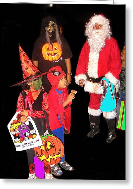Trick-or-treaters Greeting Cards - Santa trick or treaters Halloween party Casa Grande Arizona 2005 Greeting Card by David Lee Guss