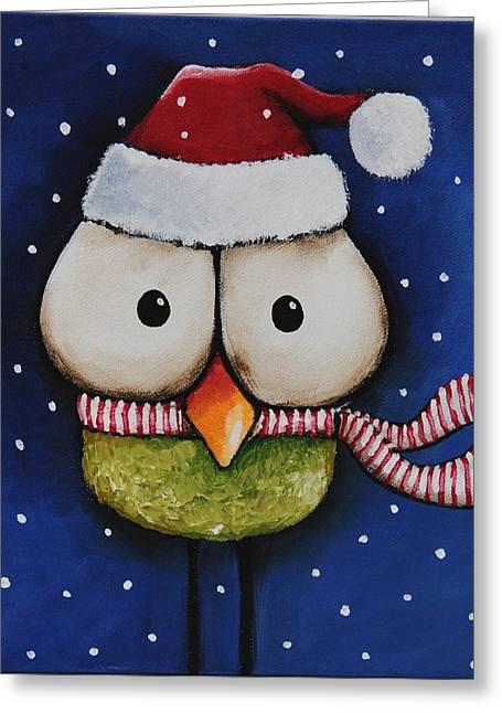 Christmas Art Greeting Cards - Santa Tweet Greeting Card by Lucia Stewart