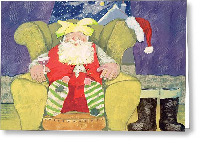 Boot Greeting Cards - Santa Warming his Toes  Greeting Card by David Cooke