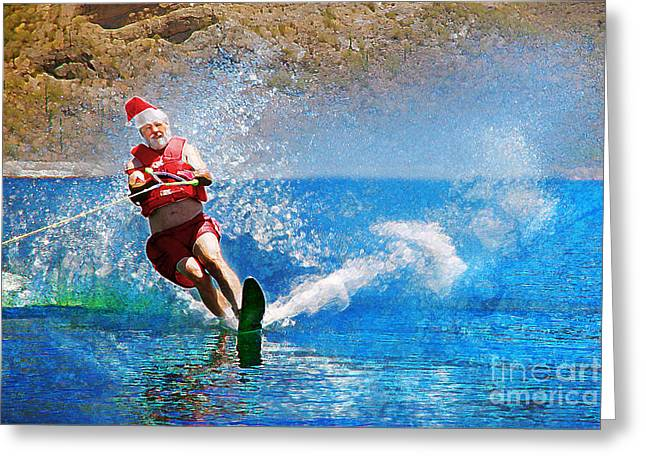 Skiing Art Cards Greeting Cards - Santa Waterskiing Greeting Card by Jeanette Brown