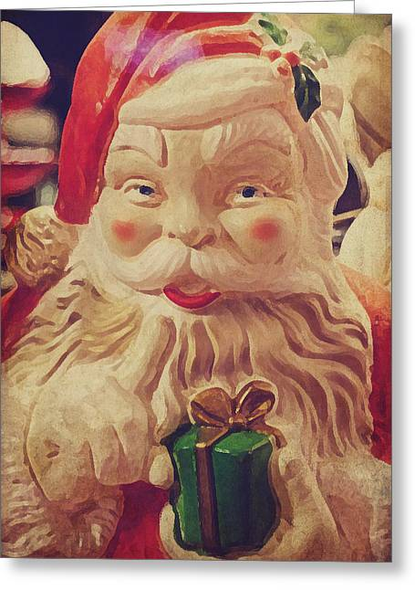 Collectors Toys Photographs Greeting Cards - Santa Whispers vintage Greeting Card by Toni Hopper