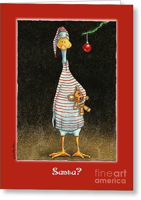 Runner Greeting Cards - Santa? Greeting Card by Will Bullas