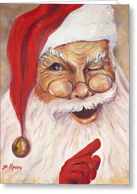 Santa Winking I Greeting Card by Sheila Kinsey