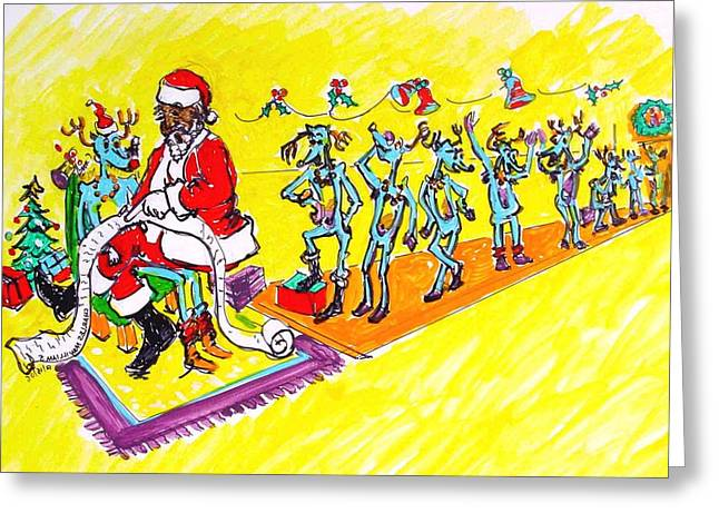 Rudolph Drawings Greeting Cards - Santa wish list - 2006 Greeting Card by Charles M Williams