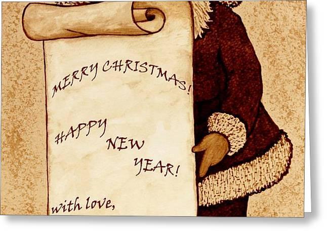 Santa Wishes digital art Greeting Card by Georgeta  Blanaru