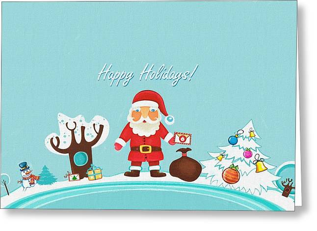 New Year Greeting Cards - Santa With Gifts Greeting Card by Victor Gladkiy