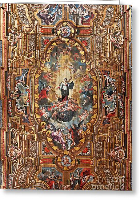Mannerist Greeting Cards - Santarem Cathedral painted ceiling Greeting Card by Jose Elias - Sofia Pereira