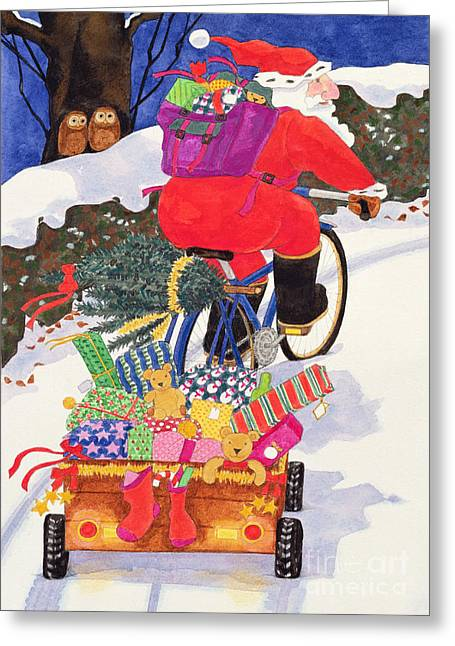 Toys Greeting Cards - Santas Bike Greeting Card by Linda Benton