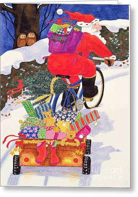 Santas Bike Greeting Card by Linda Benton