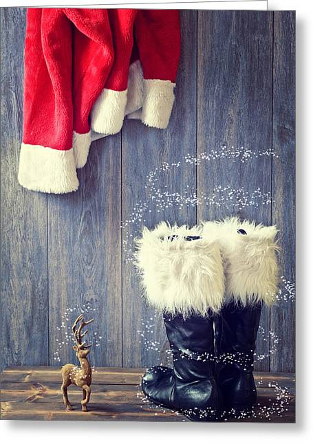 Rack Greeting Cards - Santas Boots Greeting Card by Amanda And Christopher Elwell