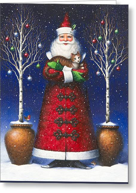Cat Fantasy Greeting Cards - Santas Cat Greeting Card by Lynn Bywaters