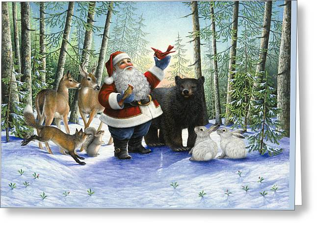 Santa's Christmas Morning Greeting Card by Lynn Bywaters