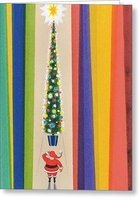 Baubles Greeting Cards - Santas Christmas Tree Greeting Card by Stanley Cooke