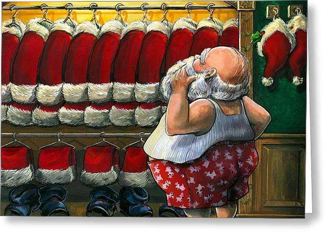 Santa's Closet Greeting Card by Janet Stever