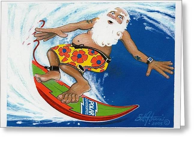 Tadpoles Mixed Media Greeting Cards - Santas Getting RAD on His Polarboard Greeting Card by Steve Harris