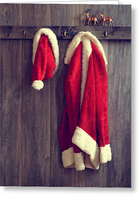 Peg Greeting Cards - Santas Hat And Coat Greeting Card by Amanda And Christopher Elwell