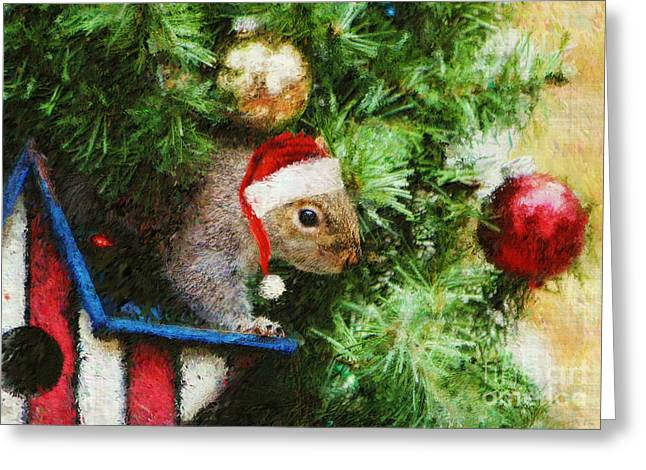 Christmas Greeting Greeting Cards - Santas Little Helper Greeting Card by Tina  LeCour