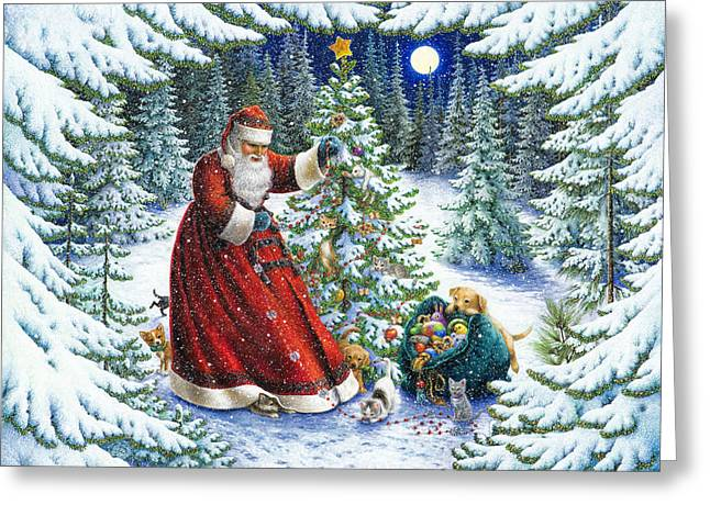 Claus Greeting Cards - Santas Little Helpers Greeting Card by Lynn Bywaters