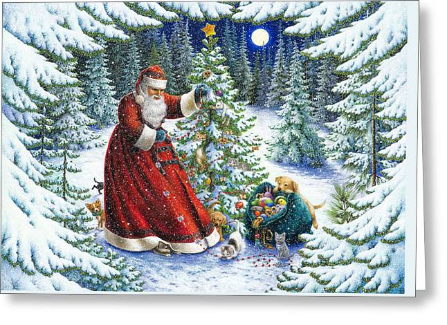 Puppies Paintings Greeting Cards - Santas Little Helpers Greeting Card by Lynn Bywaters
