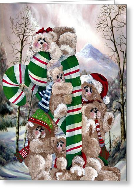 Cheer On Paintings Greeting Cards - Santas Little Helpers Greeting Card by R Chambers