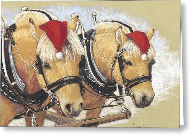 Harness Greeting Cards - Santas Little Helpers Greeting Card by Tracie Thompson