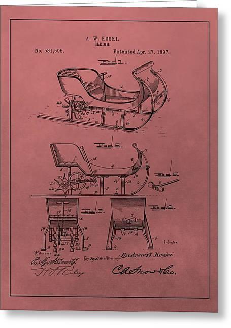 Nicholas Mixed Media Greeting Cards - Santas Sleigh Patent 1897 Greeting Card by Dan Sproul