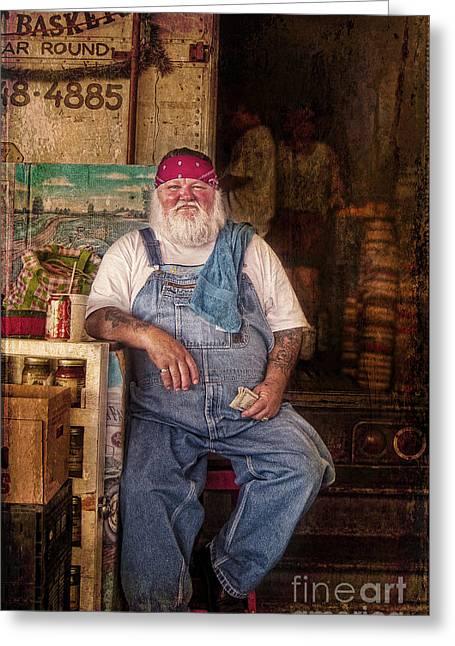 Harvest Art Greeting Cards - Santas summer job Greeting Card by Elena Nosyreva