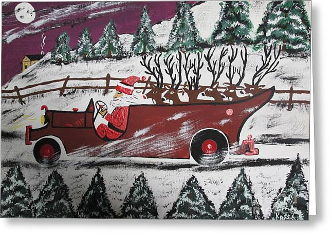 Reign Deer Greeting Cards - Santas Truckload Greeting Card by Jeffrey Koss