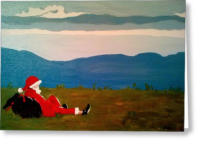 Recently Sold -  - Pause Greeting Cards - Appalachian Santa Greeting Card by Elizabeth DeLap