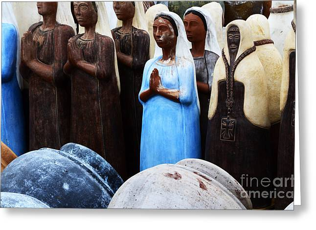 Sante Fe Color Statuary And Pots Greeting Card by Bob Christopher