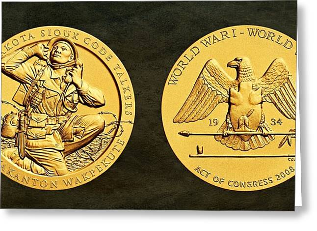 Bronze Wire Greeting Cards - Santee Sioux Tribe Code Talkers Bronze Medal Art Greeting Card by Movie Poster Prints