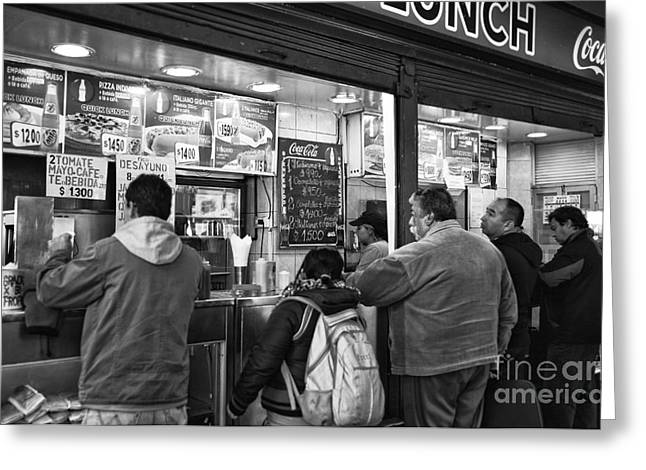 Lunch Time Greeting Cards - Santiago Lunch mono Greeting Card by John Rizzuto